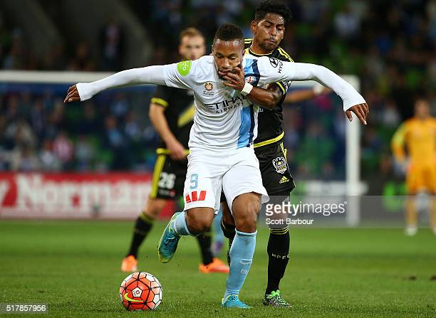 Harry Novillo of City FC and Roy Krishna of the Phoenix compete for the ball during the round 25 ALeague match between Melbourne City FC and the...