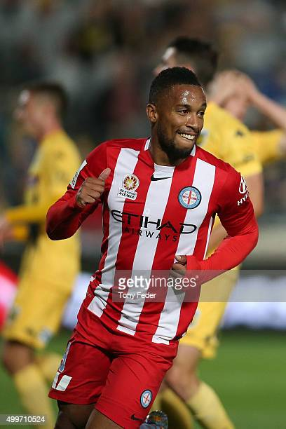 Harry Novillo of Melbourne City celebrates after scoring a goal during the round nine A-League match between the Central Coast Mariners and Melbourne...