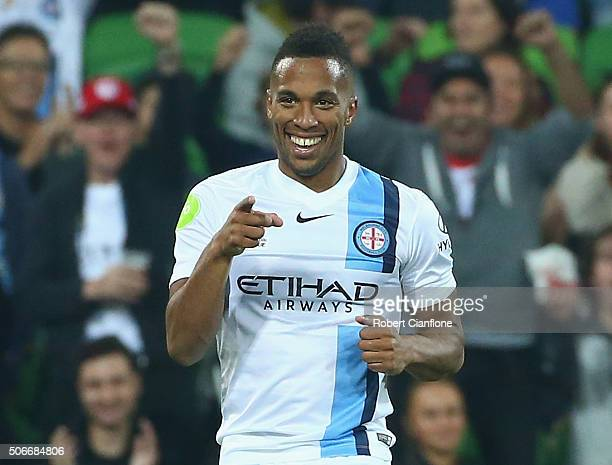 Harry Novillo of Melbourne City celebrates after scoring a goal during the round 16 ALeague match between Melbourne City FC and Wellington Phoenix at...