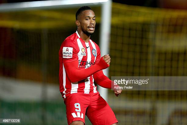 Harry Novillo of Melbourne City dances to celebrate his goal during the round nine A-League match between the Central Coast Mariners and Melbourne...