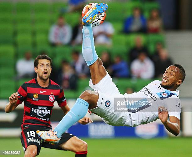 Harry Novillo of Melbourne City performs a scissor kick for goal but misses during the round six ALeague match between Melbourne City FC and the...
