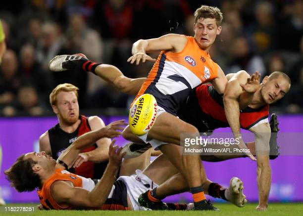 Harry Perryman of the Giants and David Zaharakis of the Bombers compete for the ball during the 2019 AFL round 15 match between the Essendon Bombers...