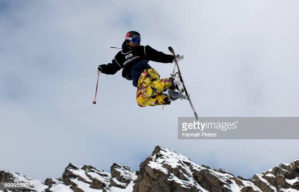 Harry Pettit of New Zealand competes in the slopestyle Freestyle Ski qualification during day one of the Winter Games NZ at The Remarkables on August...