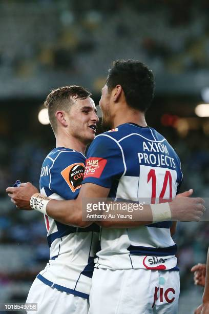 Harry Plummer and Melani Nanai of Auckland celebrate a try during the round one Mitre 10 Cup match between Auckland and Counties Manukau at Eden Park...