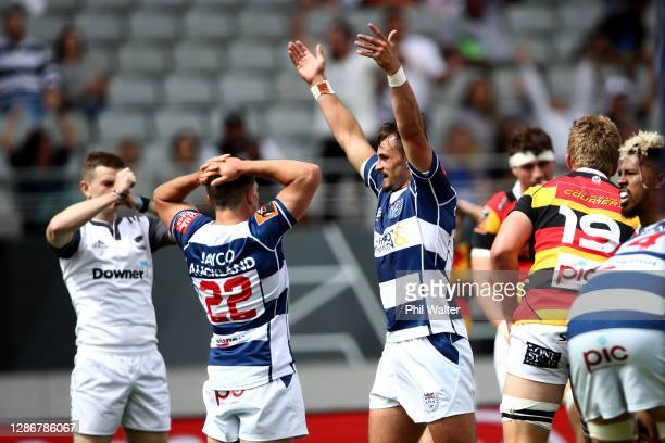 Harry Plummer of Auckland celebrates on full time during the Mitre 10 Cup Semi Final match between Auckland and Waikato at Eden Park on November 21...