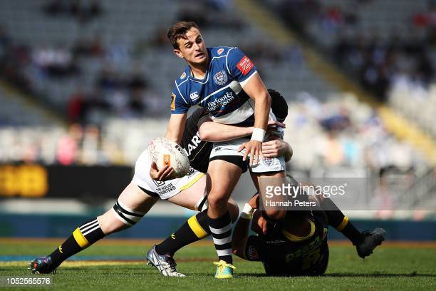 Harry Plummer of Auckland charges forward during the Mitre 10 Cup Semi Final match between Auckland and Wellington at Eden Park on October 20, 2018...