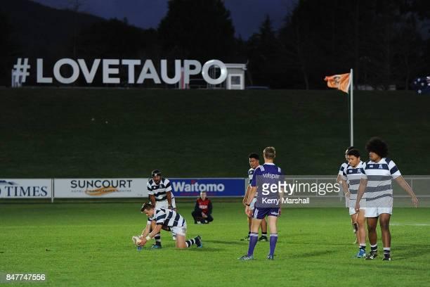 Harry Plummer of Auckland gets ready to kick a penalty Waikato and Aucklandduring the Jock Hobbs Memorial Tournament match between XXXXxxxxxXXXX on...
