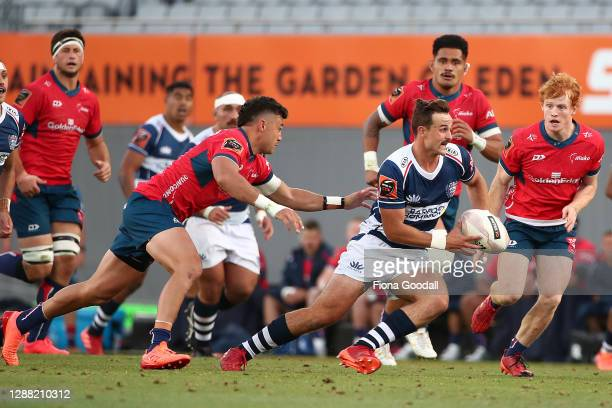 Harry Plummer of Auckland in action during the Mitre 10 Cup Final between Auckland and Tasman at Eden Park on November 28, 2020 in Auckland, New...