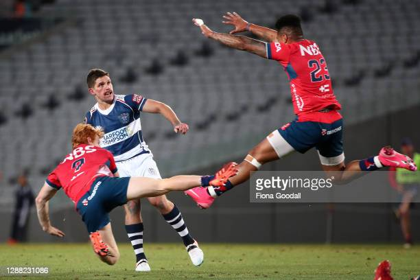 Harry Plummer of Auckland kicks as unsuccessful drop kick during the Mitre 10 Cup Final between Auckland and Tasman at Eden Park on November 28, 2020...