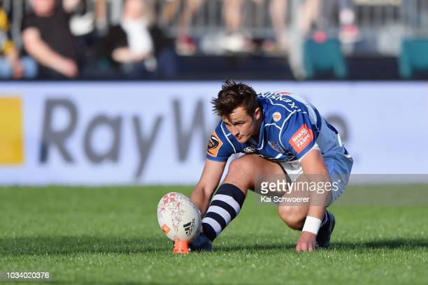Harry Plummer of Auckland looks to kick a conversion during the round five Mitre 10 Cup match between Canterbury and Auckland at Christchurch Stadium...