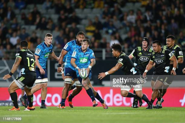 Harry Plummer of the Blues makes a run during the round 13 Super Rugby match between the Blues and the Hurricanes at Eden Park on May 10 2019 in...
