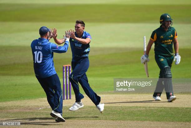 Harry Podmore of Kent celebrates after getting Chris Nash of Nottingham out during the Royal London OneDay Cup match between Nottinghamshire Outlaws...