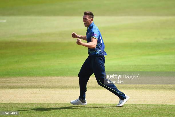 Harry Podmore of Kent celebrates taking a wicket during the Royal London OneDay Cup match between Nottinghamshire Outlaws and Kent Spitfires at Trent...