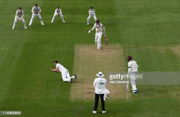 Harry Podmore of Kent takes the catch of Craig Overton of Somerset during Day 2 of the Specsavers County Championship match between Somerset and Kent...