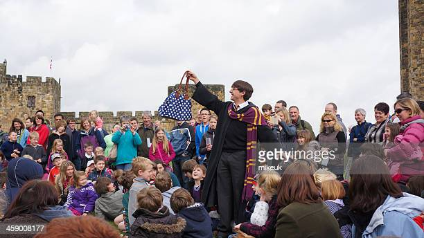harry potter actor at alnwick castle - alnwick castle stock photos and pictures