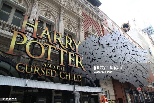 'Harry Potter and the Cursed Child' Theatre Marquee Installation on February 14 2018 at the Lyric Theatre in New York City
