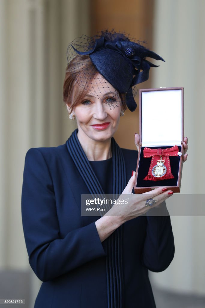 Harry Potter author JK Rowling after she was made a Companion of Honour by the Duke of Cambridge during an Investiture ceremony at Buckingham Palace on December 12, 2017 in London, England.
