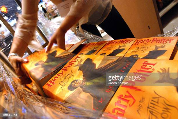 Harry Potter books at the Toys R Us Times Square midnight launch of Harry Potter And The Deathly Hallows on July 21 2007 in New York City