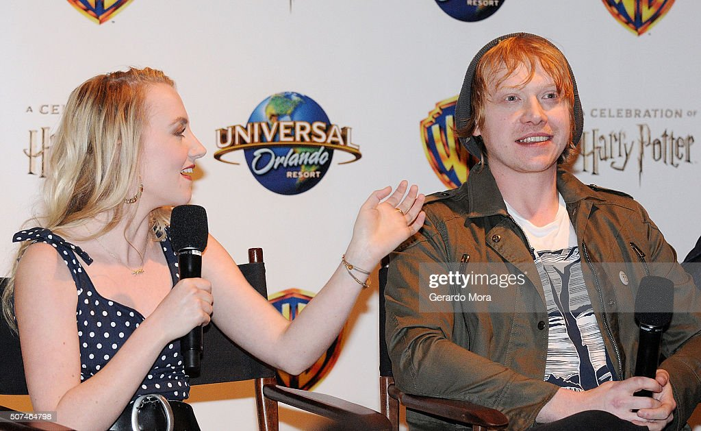 'Harry Potter' cast members Evanna Lynch (L) and Rupert Grint attend the 3rd Annual Celebration Of Harry Potter at Universal Orlando on January 29, 2016 in Orlando, Florida.