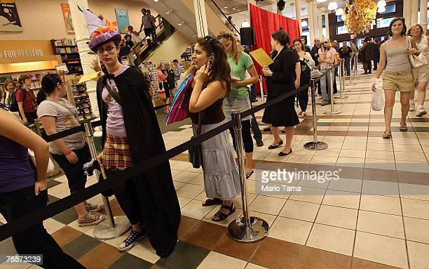Harry Potter fans wait in line for wristbands in the Union Square Barnes and Noble to purchase the final book tonight at midnight July 20 2007 in New...