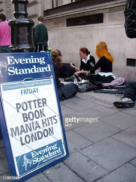 Harry Potter fans wait outside Waterstone's book store in Piccadilly Circus in London England waiting for the release of Harry Potter and the Deathly...