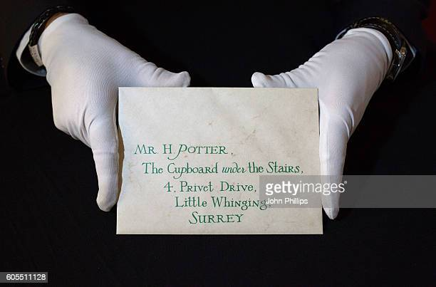 Harry Potter Hogwarts Acceptance Letter with Wax Seal from Harry Potter and the Philosopher's Stone estimated at £3k£5k goes on display ahead of the...