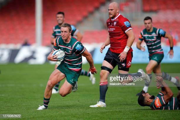Harry Potter of Leicester Tigers breaks through to score a try during the Gallagher Premiership Rugby match between Gloucester Rugby and Leicester...