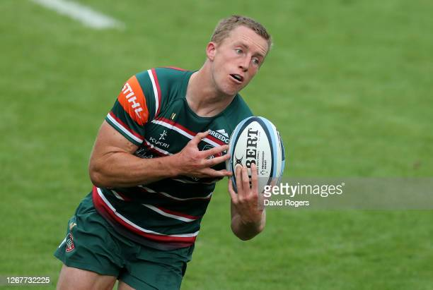 Harry Potter of Leicester Tigers catches the ball during the Gallagher Premiership Rugby match between Leicester Tigers and Bath Rugby at Welford...