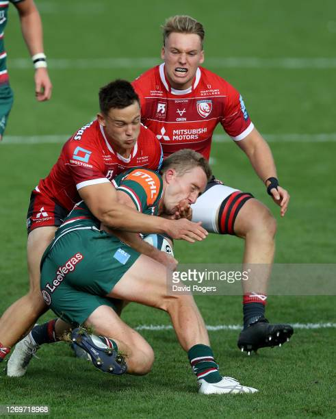 Harry Potter of Leicester Tigers is tackled by Tom Seabrook during the Gallagher Premiership Rugby match between Gloucester Rugby and Leicester...