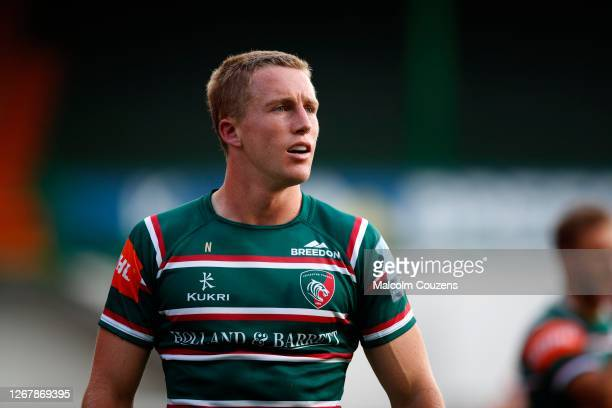 Harry Potter of Leicester Tigers looks on during the Gallagher Premiership Rugby match between Leicester Tigers and Bath Rugby at Welford Road on...