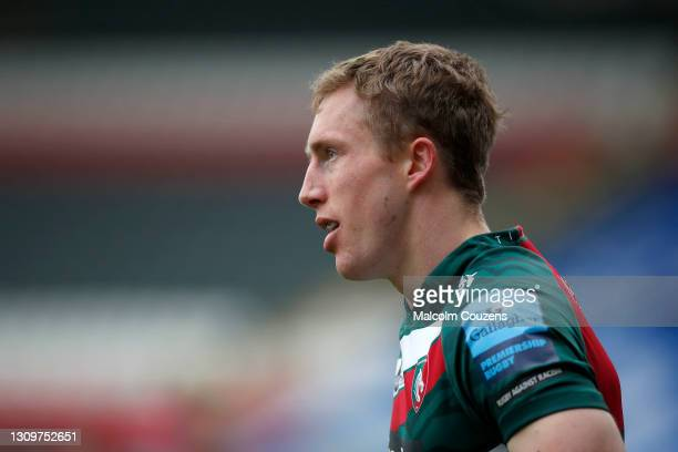 Harry Potter of Leicester Tigers looks on during the Gallagher Premiership Rugby match between Leicester Tigers and Newcastle Falcons at Welford Road...