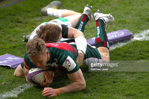 Harry Potter of Leicester Tigers scores a try during the European Rugby Challenge Cup Quarter Final match between Leicester Tigers and Newcastle...