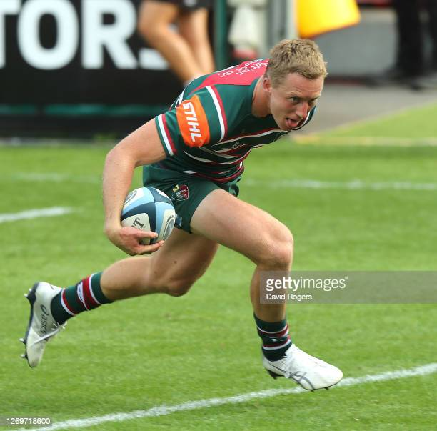 Harry Potter of Leicester Tigers scores a try during the Gallagher Premiership Rugby match between Gloucester Rugby and Leicester Tigers at Kingsholm...