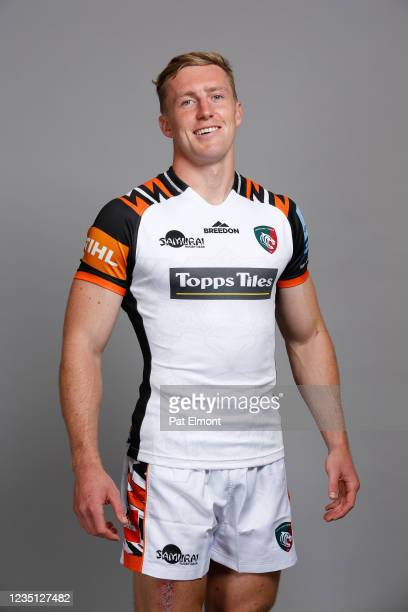 Harry Potter poses for a portrait during the Leicester Tigers squad photo call for the 2021-22 Gallagher Premiership Rugby season at Oval Park, Oadby...