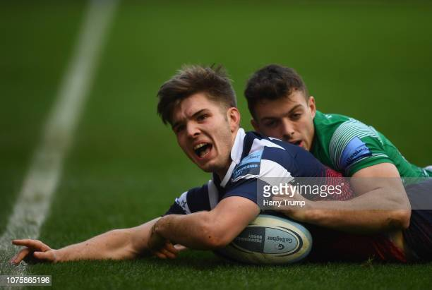 Harry Randall of Bristol Bears celebrates after scoring his sides first try during the Gallagher Premiership Rugby match between Bristol Bears and...