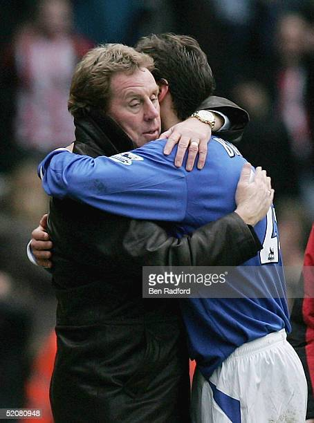 Harry Redknapp hugs Dejan Stefanovic at the end of the FA Cup Fourth Round match between Southampton and Portsmouth at St Mary's stadium on January...
