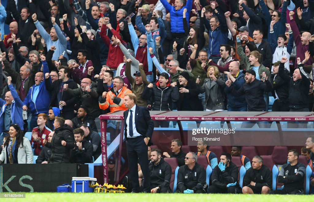 Harry Redknapp, manager of Birmingham City reacts after Aston Villa's first goal during the Sky Bet Championship match between Aston Villa and Birmingham City at Villa Park on April 23, 2017 in Birmingham, England.
