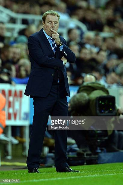 Harry Redknapp manager of Queeens Park Rangers gestures during the Barclays Premier League football match between Newcastle United and Queeens Park...