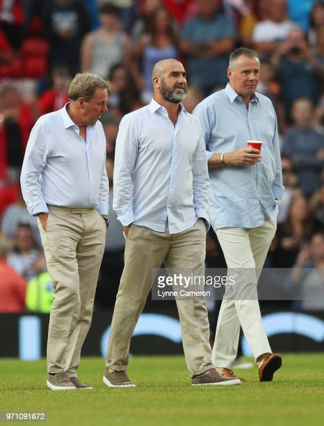 Harry Redknapp manager of the Rest of the World Eric Cantona of the Rest of the World and Vic Bettinelli goalkeeping coach of the Rest of the World...