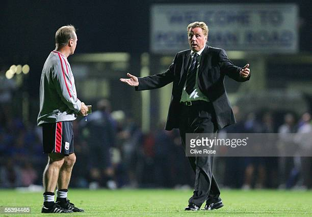 Harry Redknapp of Southampton shows his frustration as the stadium floodlight's fail to provide sufficient light during the Coca-Cola Championship...