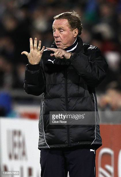 Harry Redknapp of Tottenham Hotspur gives instructions during the UEFA Europa League match between Shamrock Rovers FC and Tottenham Hotspur FC at the...