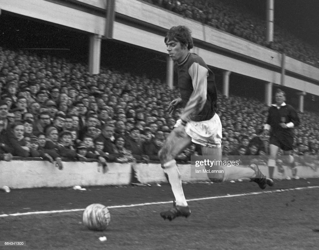 Harry Redknapp playing for West Ham United against Liverpool FC, in the Football League Division 1, at Upton Park London on 22nd February 1969.