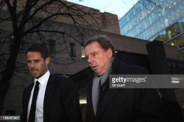 Harry Redknapp the manager of Tottenham Hotspur football club and his son Jamie Redknapp leave Southwark Crown Court on February 7 2012 in London...