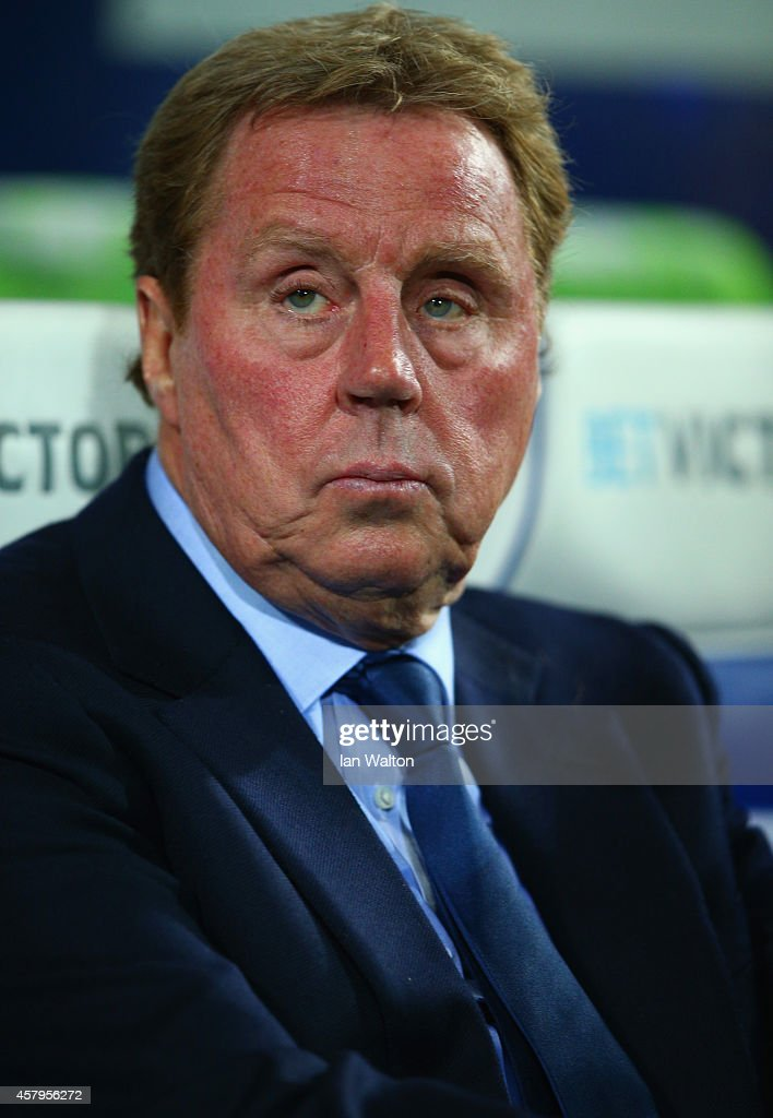 Harry Redknapp the QPR manager looks on during the Barclays Premier League match between Queens Park Rangers and Aston Villa at Loftus Road on October 27, 2014 in London, England.