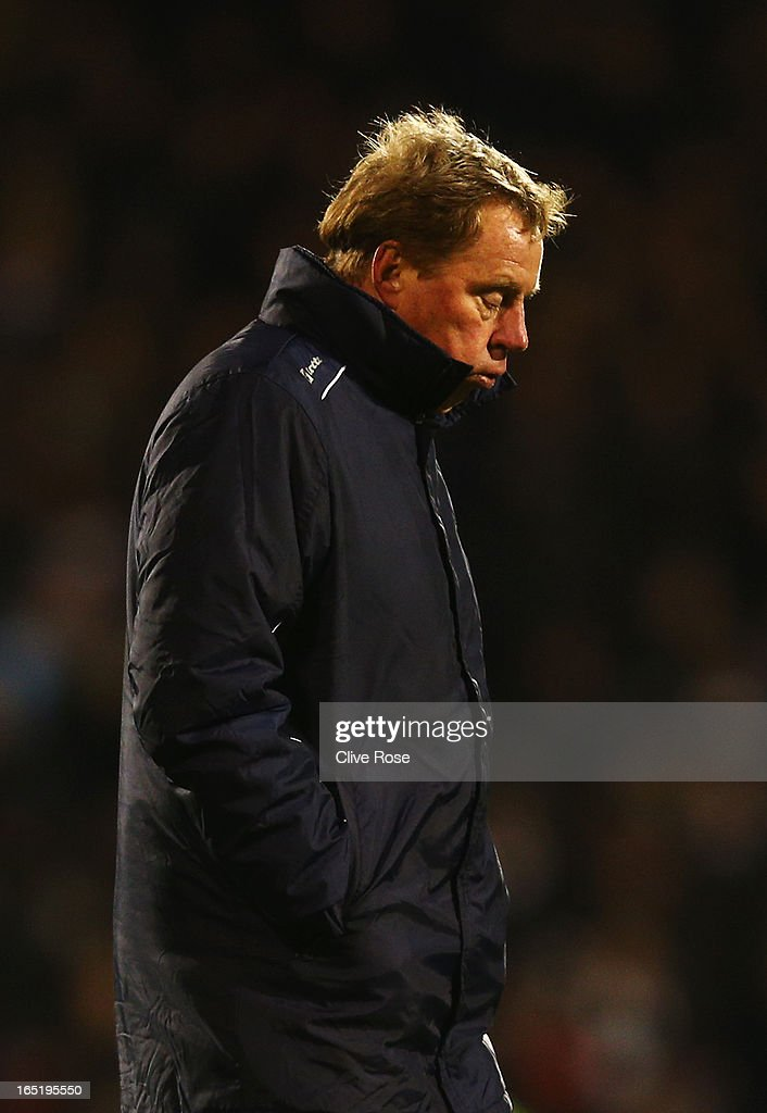 Harry Redknapp the Queens Park Rangers manager reacts as he walks off at the end of the Barclays Premier League match between Fulham and Queens Park Rangers at Craven Cottage on April 1, 2013 in London, England.