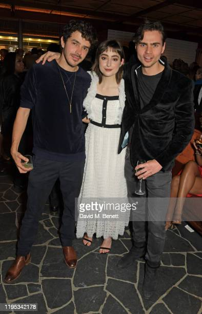 Harry Richardson Ellise Chappell and Tom York attend the Vanity Fair EE Rising Star Award Party ahead of the 2020 EE BAFTAs at The Standard London on...