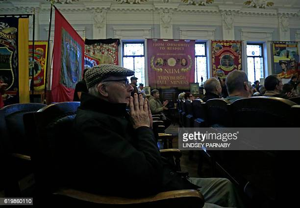 Harry Robinson a retired Overman miner from the Dodworth and Redbrook area pits listens during a media conference held by members of the Orgreave...