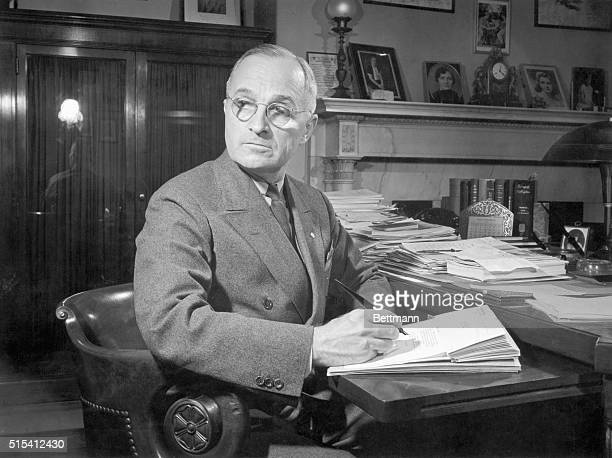 Harry S Truman who went on to become the 33rd President Photo shows him seated at a desk when he was a Senator Ca 1930s1940s