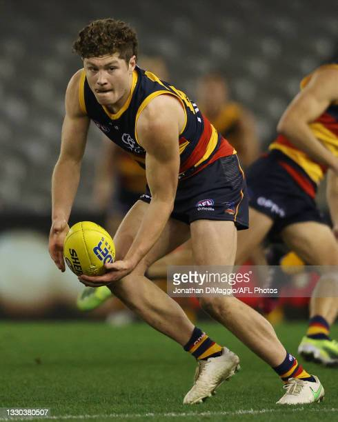 Harry Schoenberg of the Crows in action during the round 20 AFL match between Adelaide Crows and Hawthorn Hawks at Marvel Stadium on July 24, 2021 in...