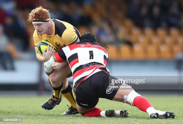 Harry Scoble of the Force is tackled during the round three NRC match between Canberra Vikings and Western Force at Viking Park on September 16 2018...